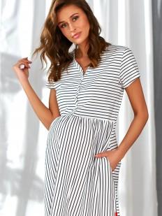Хлопковая сорочка в полоску для беременных в роддом