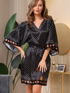 Черная атласная домашняя туника в горошек с широким рукавом кимоно