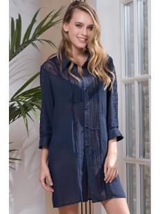 Женская хлопковая ночная рубашка с кружевными вставками Mia-Amore Siesta
