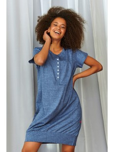 Джинсовая ночная сорочка из хлопка с коротким рукавом и планкой на пуговицах
