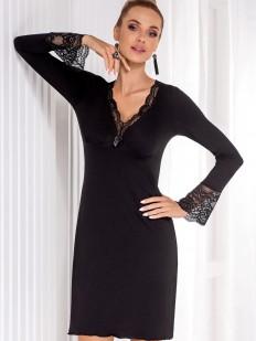 Женская черная ночная сорочка из вискозы с длинным кружевным рукавом