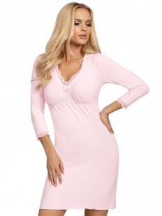 Женская трикотажная сорочка из розовой вискозы с длинным рукавом