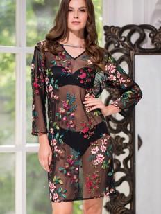 Пляжное платье туника с цветочной вышивкой и длинным рукавом