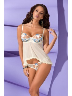 Белая соблазнительная сорочка с цветочным узором и открытым бюстом