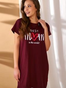 Хлопковая бордовая сорочка для беременных и кормящих мам