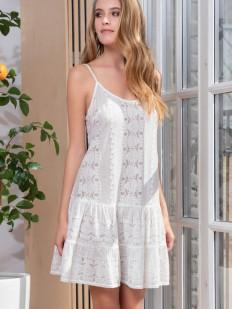 Короткое хлопковое белое платье сарафан на тонких бретелях