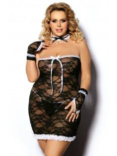 Женский эротический костюм горничной для ролевых игр большого размера с сорочкой и перчатками