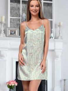 Женская атласная короткая сорочка в полоску с серебристым принтом