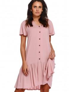 Розовая домашняя сорочка из тенселя свободного кроя с юбочкой