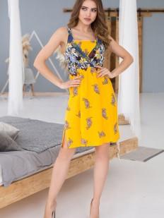 Летнее женское короткое желтое платье из вискозы