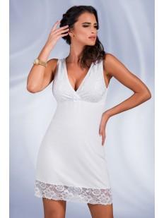 Женская ночная сорочка из вискозы белая без рукавов