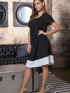 Женское домашнее черное платье свободного кроя