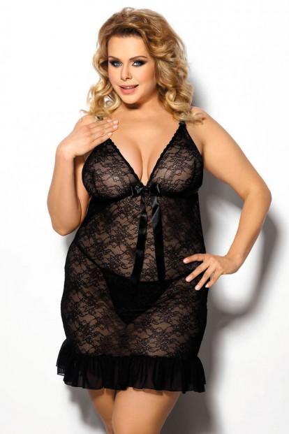 Комплект прозрачной сорочки и стрингов черного цвета Gorgeous+ Evona - фото 1