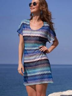 Пляжная женская туника с коротким рукавом и синим принтом