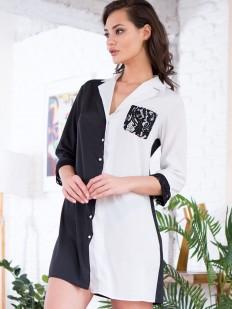 Женская домашняя ночная рубашка на пуговицах черно-белая