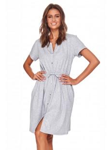 Женская серая сорочка из хлопка на пуговицах с поясом