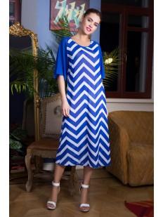 Длинное пляжное расклешенное платье миди с геометрическим принтом