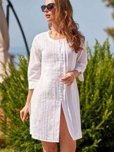 Женская пляжная белая туника рубашка из хлопка с рельефной полоской