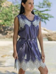 Хлопковое летнее пляжное платье туника без рукавов