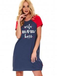 Синяя женская сорочка с коротким красным рукавом