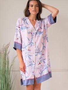 Женская ночная рубашка свободного кроя из вискозы с цветочным принтом