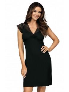 Женская трикотажная ночная сорочка из вискозы с кружевом черная