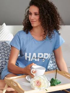 Голубая хлопковая сорочка в роддом с коротким рукавом