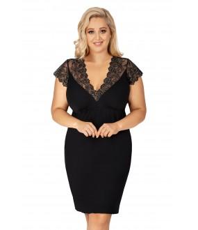 Короткая черная сорочка большого размера с кружевным декольте