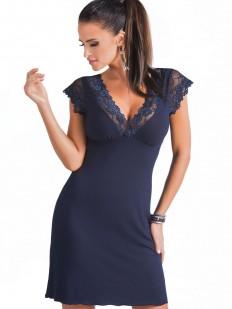 Женская ночная сорочка из вискозы с коротким кружевным рукавом синяя