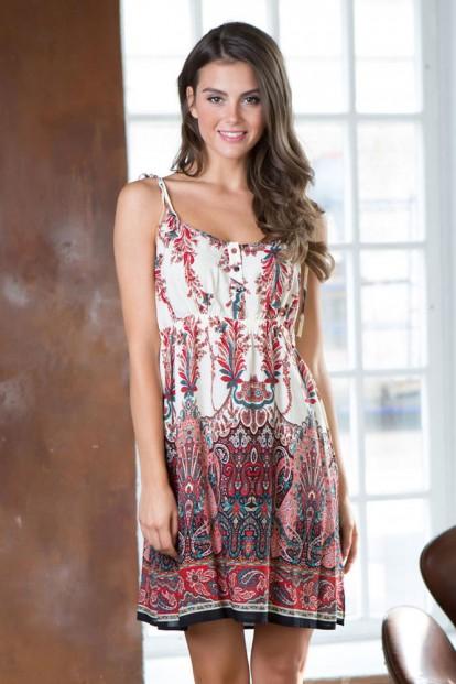 Летняя принтованная ночная сорочка на бретелях Mia-Mia Shakira 16071 Red - фото 1