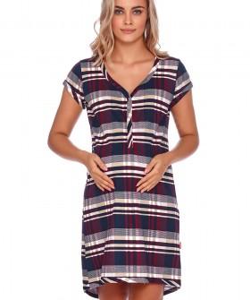 Клетчатая летняя сорочка для беременных из хлопка с короткими рукавами