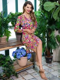 Летнее женское домашнее платье с цветным принтом и длинным рукавом