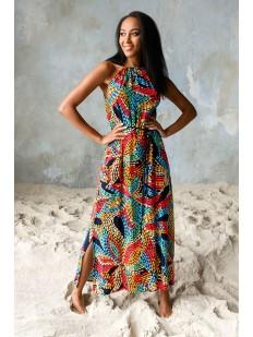 Длинное платье из цветной вискозы без рукавов