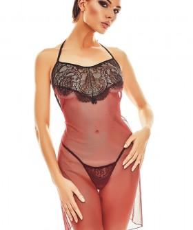 Бордовая прозрачная эротическая сорочка из тюля и стринги в комплекте