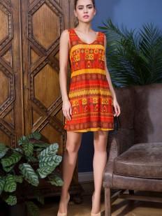 Короткое пляжное платье туника без рукавов с оранжевым принтом