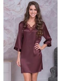 Атласная ночная женская сорочка с длинным рукавом Mia-Mella Mirabella