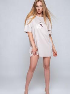 Короткая ночная сорочка свободного кроя с принтом оленя