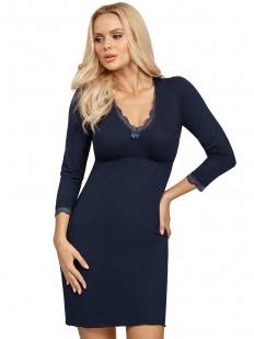 Женская трикотажная сорочка из вискозы синего цвета с длинным рукавом