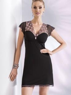 Черная короткая ночная сорочка из вискозы с рукавом в сеточку