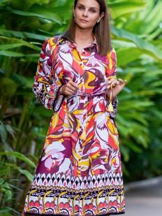 Принтованная женская пляжная удлиненная рубашка из вискозы