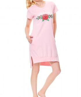 Женская розовая ночная сорочка с карманами