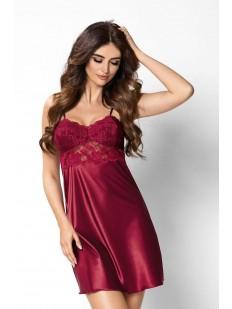 Атласная ночная сорочка женская короткая с кружевным лифом бордовая