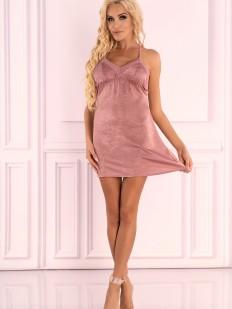 Короткая велюровая сорочка розового цвета на тонких бретелях