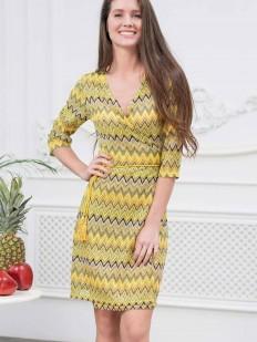 Летнее женское желтое домашнее платье
