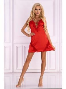 Короткая атласная сорочка красного цвета с глубоким вырезом
