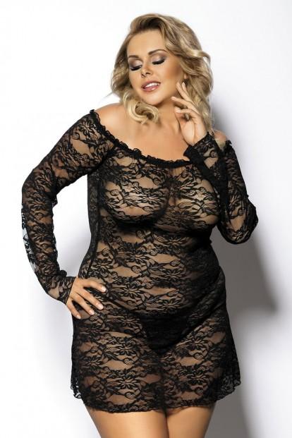Комплект сорочки и стрингов черного цвета Gorgeous+ Orangina - фото 1