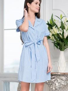 Летнее женское домашнее платье рубашка в клетку