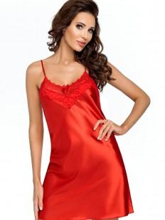 Атласная ночная сорочка женская короткая с кружевным лифом красная