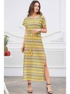 Длинное желтое пляжное платье с геометрическим рисунком