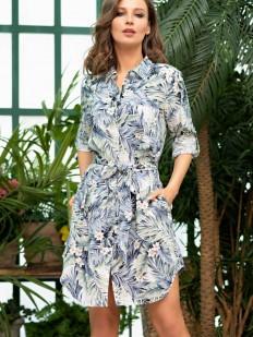 Женская домашняя рубашка из вискозы с растительным рисунком и карманами